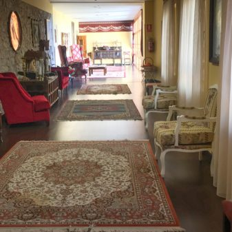 Hotel foyer in in Villafranca Montes de Oca on the Camino de Santiago on eatlivetravelwrite.com