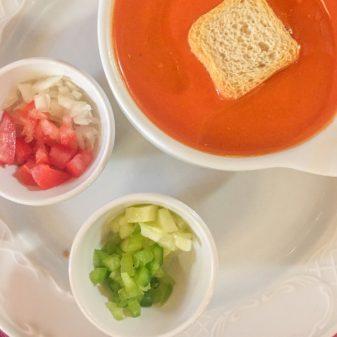 Gaspacho soup at Hotel San Anton Abad in in Villafranca Montes de Oca on the Camino de Santiago on eatlivetravelwrite.com