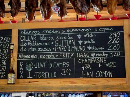 Wine list at La Favorita in Burgos Burgos cathedral walking the Camino de Santiago on eatlivetravelwrite.com