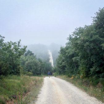 Headed up a steep hill walking the Camino de Santiago Villafranca Montes de Oca to Atapuerca on eatlivetravelwrite.com