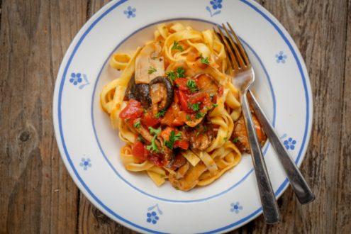 Plate of mushroom ragu on eatlivetravelwrite.com