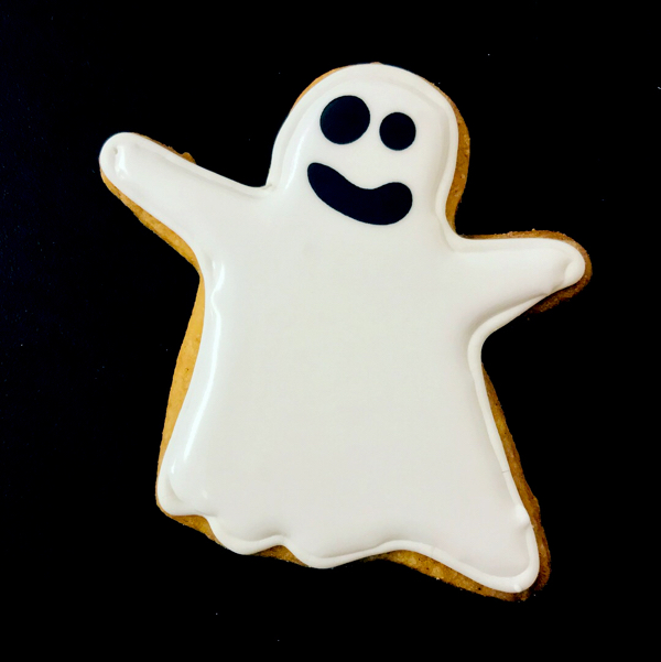 Ghost cookie decorated by kids with Adell Shneer on eatlivetravelwrite.com
