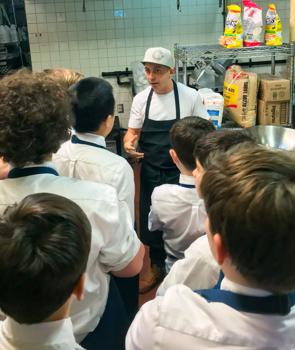 Matt Basile talking the boys cooking club at Lisa Maris on eatlivetravelwrite.com