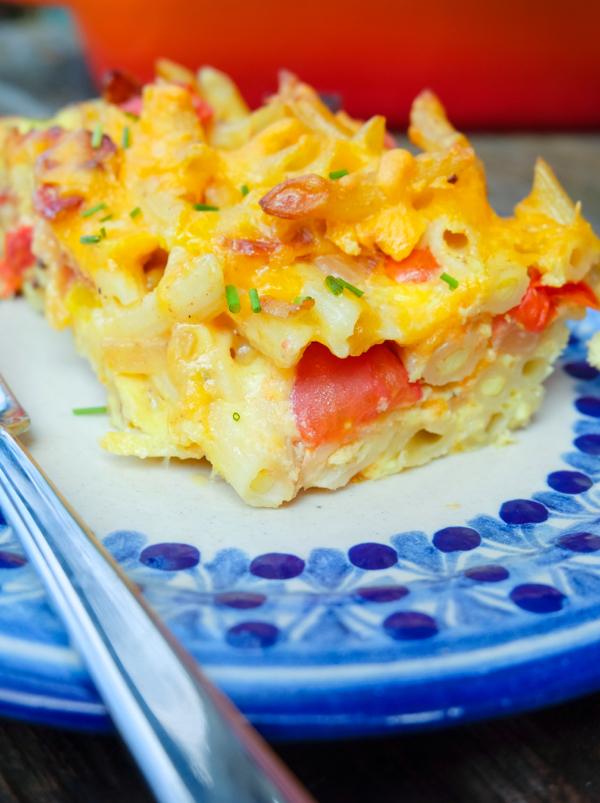 Slice of Baked pasta frittata on eatlivetravelwrite.com
