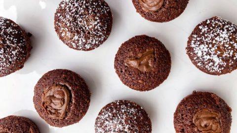 Chocolate hazelnut financiers with a Nutella swirl