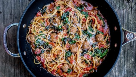 One pot pasta made in Le Creuset Toughened Non Stick Deep Frying Pan with meatballs tomatoes and kale on eatlivetravelwrite.com