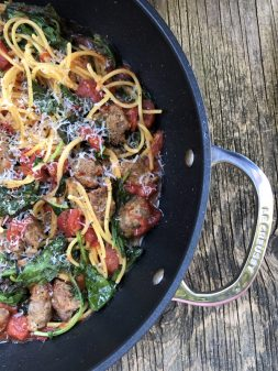 Easy one pot pasta with meatballs tomatoes and kale on eatlivetravelwrite.com