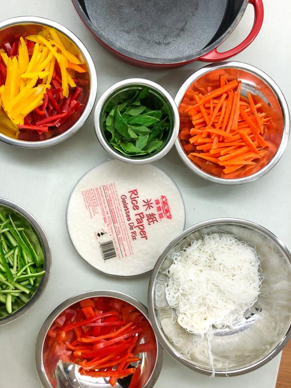 Mise en place for Rainbow Rice Paper Rolls from Vegetarian Vietnam on eatlivetravelwrite.com
