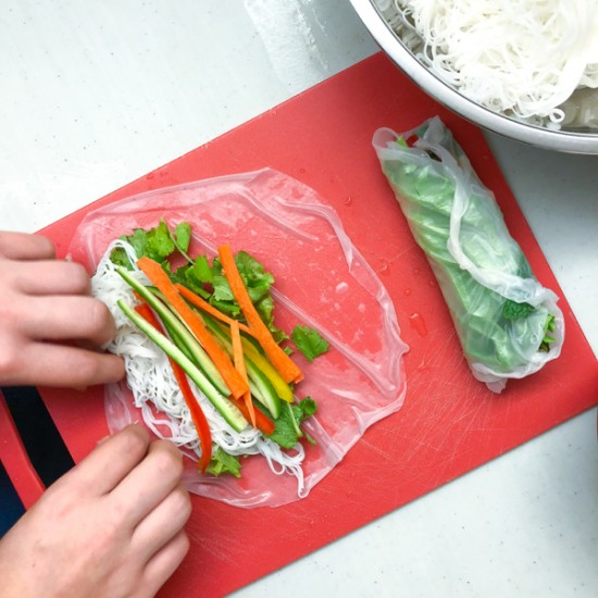 Making Rainbow Rice Paper Rolls from Vegetarian Vietnam on eatlivetravelwrite.com