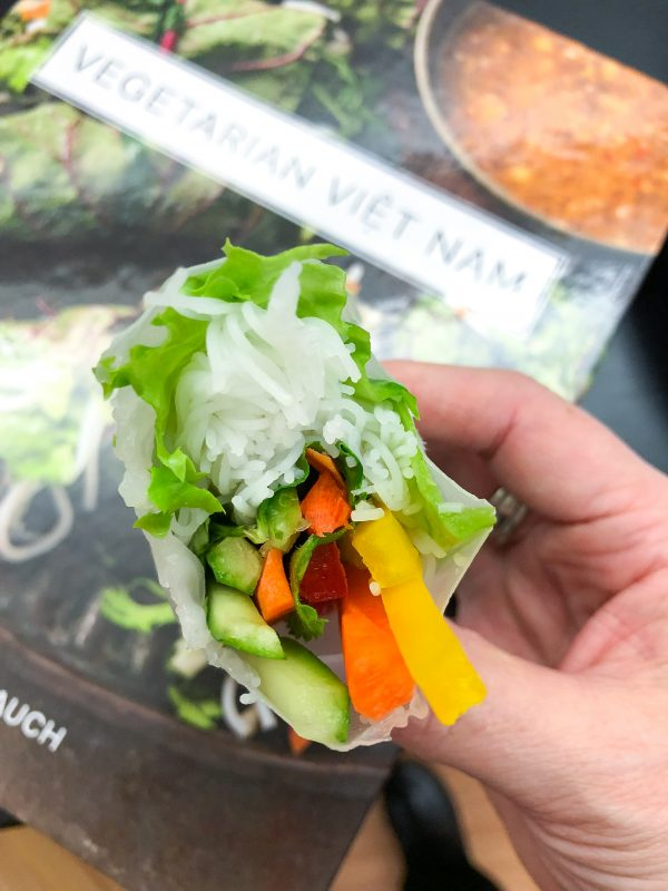 Inside Rainbow Rice Paper Rolls from Vegetarian Vietnam on eatlivetravelwrite.com