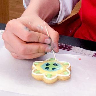 Working with toothpicks for decorating cookies with Adell Shneer on eatlivetravelwrite.com