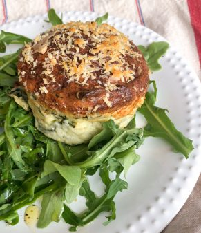 Cheese, bacon, and arugula souffle from My Paris Kitchen on eatlivetravelwrite.com