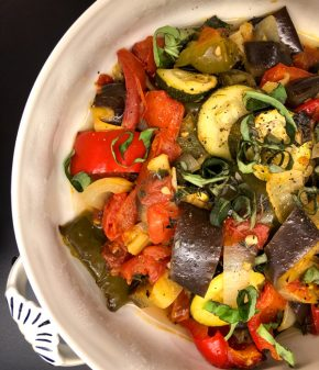 Oven baked rustic ratatouille from In the French Kitchen with Kids by Mardi Michels on eatlivetravelwrite.com