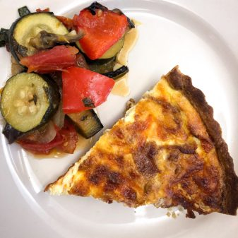Quiche Lorraine and ratatouille from In the French Kitchen with Kids by Mardi Michels on eatlivetravelwrite.com