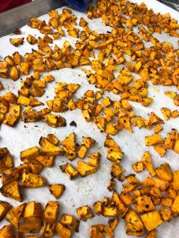 Roasted sweet potatoes for Jamie Oliver veggie chili on eatlivetravelwrite.com