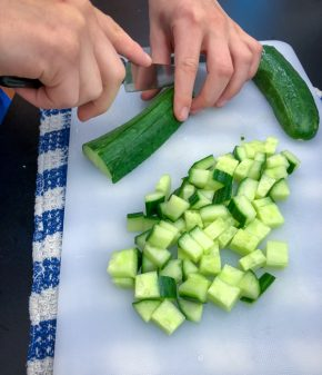Kids dice cucumbers to make Persian watermelon salad on eatlivetravelwrite.com