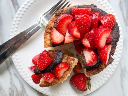 Strawberry garnish on David Lebovitz French Cheesecake on eatlivetravelwrite.com