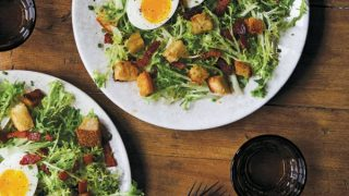 Frisée with bacon and egg