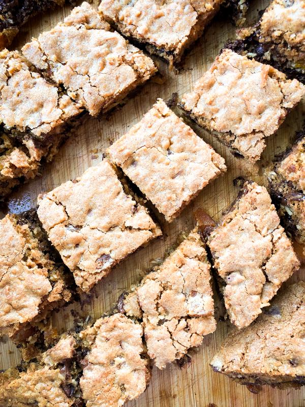 Squares of Dorie Greenspan Cast-Iron Pan Chocolate Chip Cookie Bars on eatlivetravelwrite.com