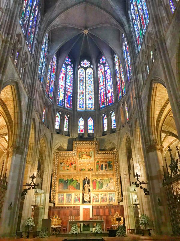 Leon cathedral interior walking the Camino de Santiago Mansilla de las Mulas to Leonon eatlivetravelwrite.com