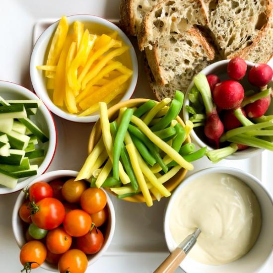 Garlic mayonnaise with crudites on eatlivetravelwrite.com
