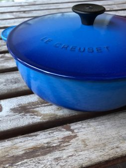 SIde view of Le Creuset Blueberry Saucier on eatlivetravelwrite.com