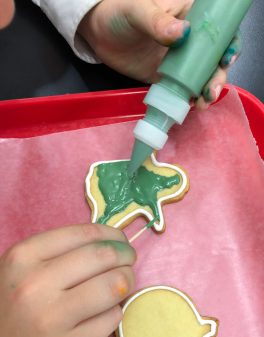 Making a green cat cookie Halloween 2018 with Adell Shneer on eatlivetravelwrite.com