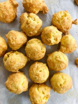 Gougères make by kids from In the French kitchen with kids on eatlivetravelwrite.com