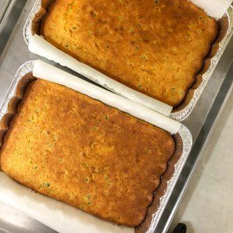 Chef Myles Chaulk cornbread for Eva's Place on eatlivetravelwrite.com