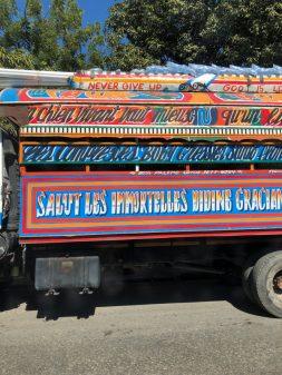 Large tap tap on the road in Haiti on eatlivetravelwrite.com