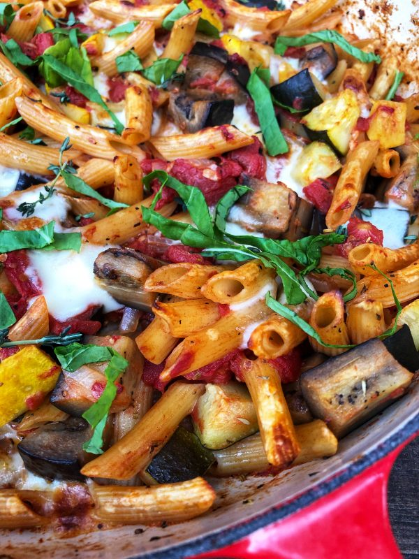 One pot cheese ratatouille pasta recipe on eatlivetravelwrite.com