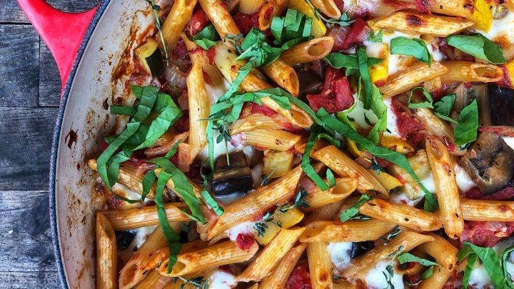 One pot cheese ratatouille pasta on eatlivetravelwrite.com