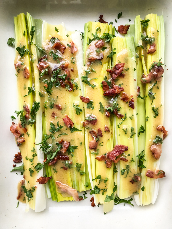 Cook the Book Fridays Leeks with bacon-mustard vinaigrette from My Paris Kitchen on eatlivetravelwrite.com