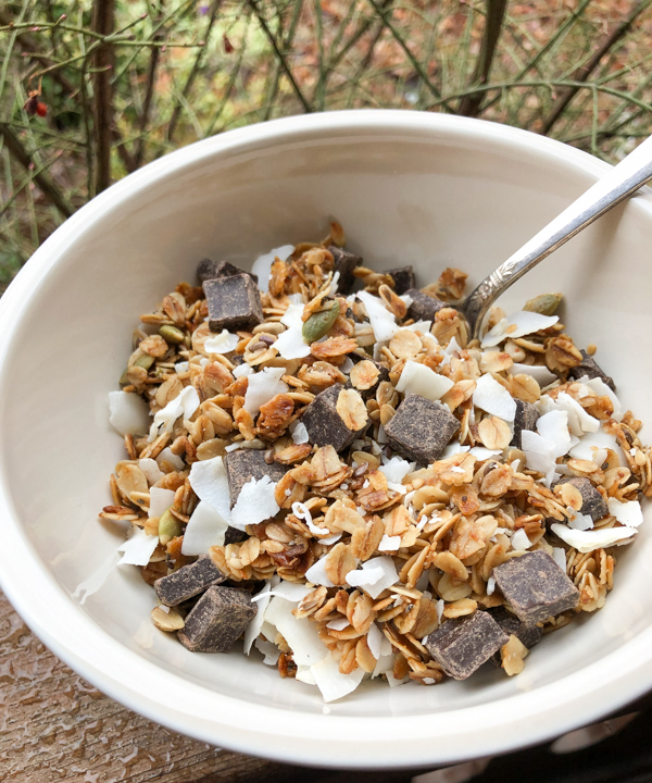 Easy Coconut chocolate granola recipe on eatlivetravelwrite.com
