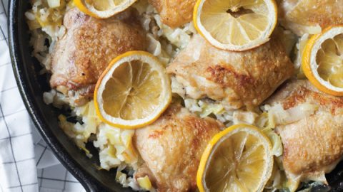 Baked Risotto with Chicken, Leeks and Lemon