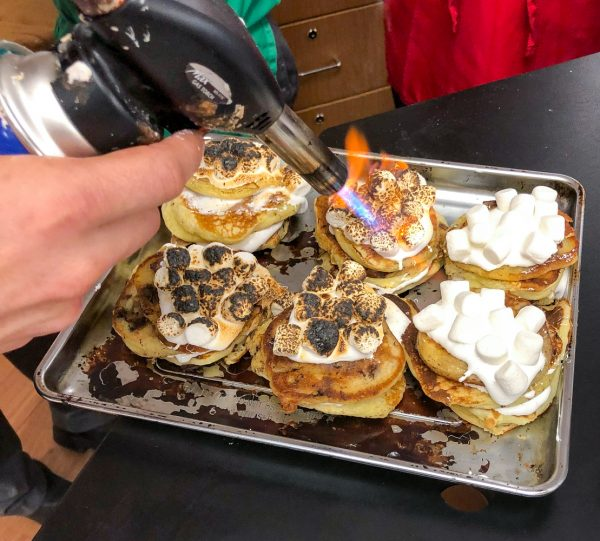 Blowtorching Smores Pancakes from Brunch LIfe with Matt Basile on eatlivetravelwrite.com