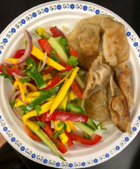 Making mango salad and potstickers with Vanessa Yeung on eatlivetravelwrite.com