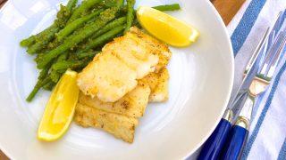 Pan fried white fish with pistachio-pesto green beans