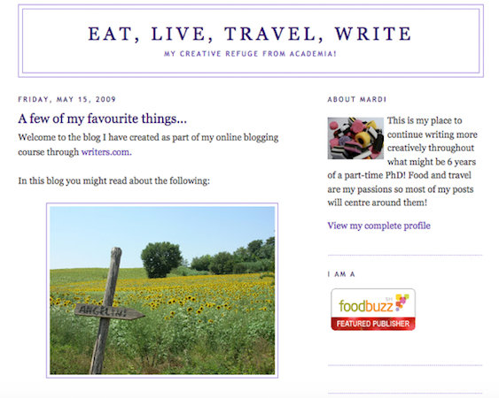 early days of eat. live. travel write.
