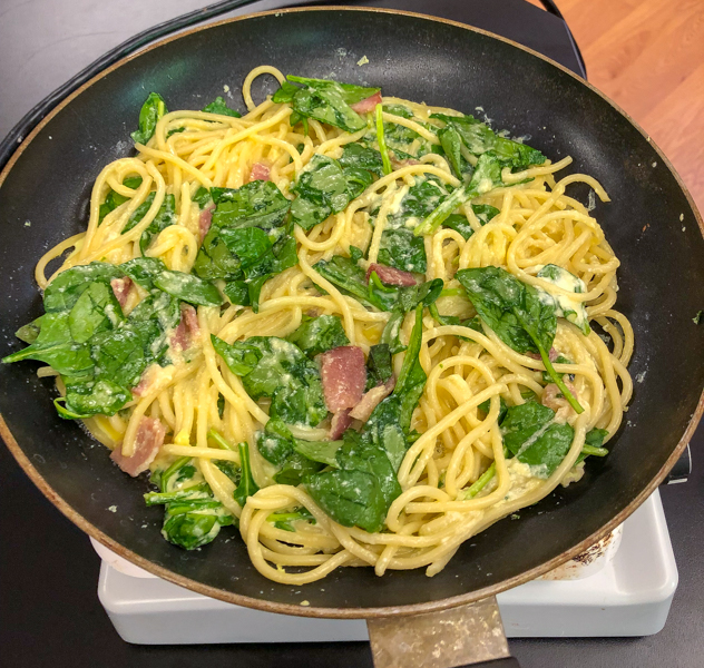 In the pan Bacon spinach and spaghetti frittata from Weekday Suppers by Emily Richards on eatlivetravelwrite.com