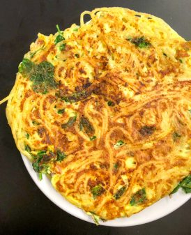 Bacon spinach and spaghetti frittata from Weekday Suppers by Emily Richards on eatlivetravelwrite.com