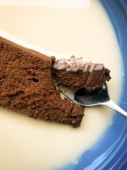 Slice of Chocolate terrine with fresh ginger crème anglaise from My Paris Kitchen