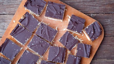 Salted caramel chocolate squares