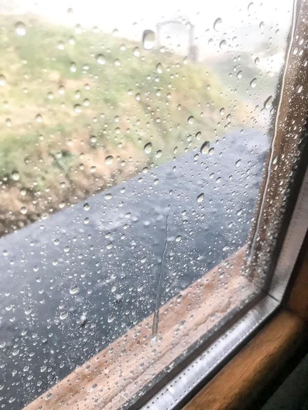Rain in El Acebo walking the Camino de Santiago: Rabanal del Camino to El Acebo with Camino Travel Center on eatlivetravelwrite.com