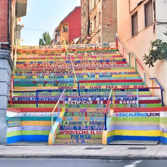 Colourful steps in Leon walking the Camino de Santiago: Léon to Villavante with Camino Travel Center on eatlivetravelwrite.com