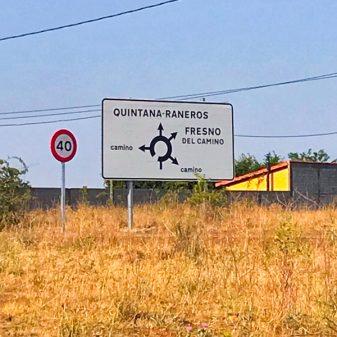 Confusing sign walking the Camino de Santiago: Léon to Villavante with Camino Travel Center on eatlivetravelwrite.com