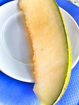 Pilgrim meal melon in Villafranca del Bierzo walking the Camino de Santiago: Ponferrada to Villafranca del Bierzo with Camino Travel Center on eatlivetravelwrite.com