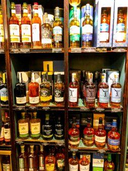 Celtic Whiskey Shop bottles on Delicious Dublin tours on eatlivetravelwrite.com