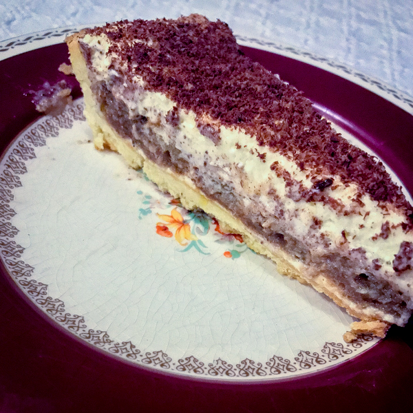 Slice of Dorie Greenspan Tiramisu Tart from Baking Chez Moi on eatlivetravelwrite.com