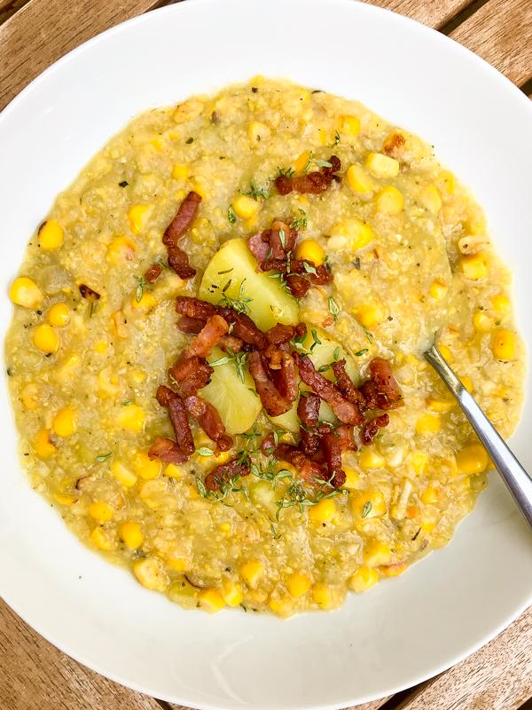 Cook the Book Fridays Dorie Greenspan's Fresh-off-the-cob corn chowder on eatlivetravelwrite.com